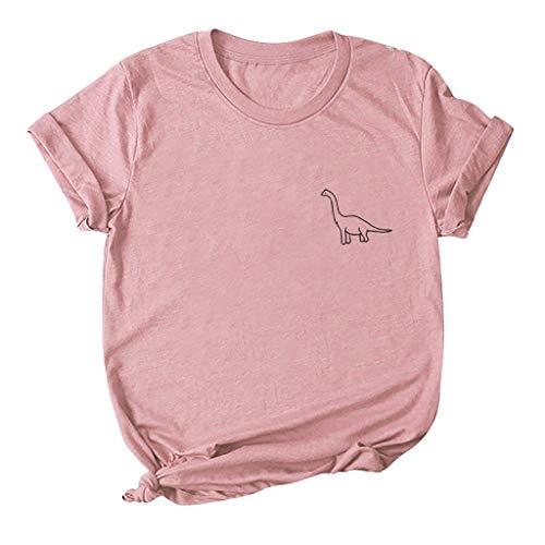 yazidan Damen Große Größen T-Shirt Süß Dinosaurier Druck Strichmännchen Shirts Frauen Kurzarm Rundhals Oberteil Teenager Mädchen Tops Tees Hemd Blusen S-5XL