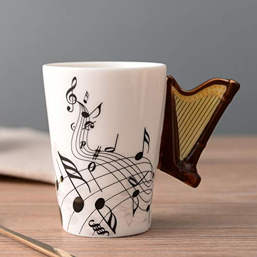 GGXH Keramik Musik Tasse Becher Musikinstrument Kreative Kaffeetasse Becher, Harfe Frei_250ml