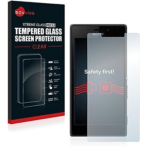 Savvies Protector Cristal Templado Sony Xperia M2 Aqua D2403 Protector Pantalla Vidrio - Dureza 9H