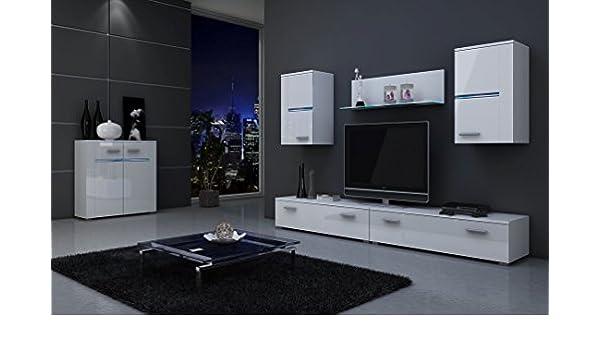 Dreams4Home Wohnwand U0027Styleu0027 Fronten Weiß Hochglanz Anbauwand Sideboard  Beleuchtung, Beleuchtung:mehrfarbige LED: Amazon.de: Küche U0026 Haushalt