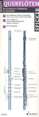Querflöten-Spicker (10/12er-Paket): Die praktische Grifftabelle für Querflöte. Flöte. Paket.