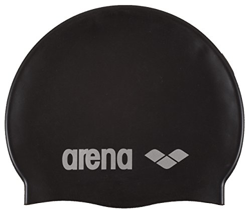 arena Unisex Badekappe Classic Silicone, black-silver, One size,91662 (Gummi-schwimmer)