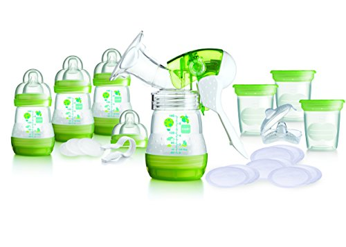 MAM Breast Feeding Starter Set including Breast pump and Anti colic self sterilising bottles (Green) 41mXoLDGD7L