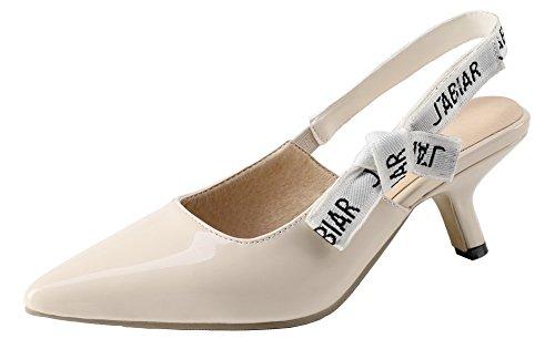 VogueZone009 Femme à Talon Correct Matière Souple Tire Chaussures Légeres Beige