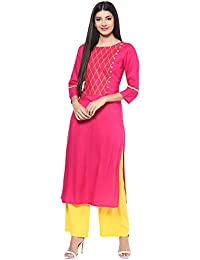 79c77efc4c Jaipur Kurti Rayon Rani Pink & Yellow Embroidered Kurta and Palazzo Set