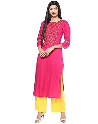 Jaipur Kurti Rayon Rani Pink & Yellow Embroidered Kurta and Palazzo Set