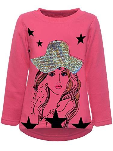 emoji shirt mit wendepailletten BEZLIT Kinder Pullover Mädchen Wende Pailletten Katzen Sweatshirt Meliert 22857 Rosa 128