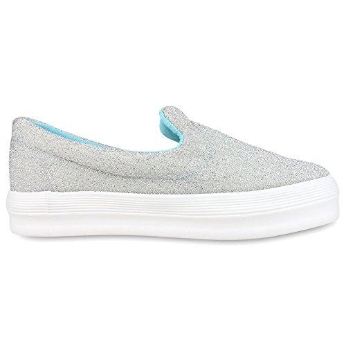 Sneakers Da Donna Alla Moda | Comodi Slip-on | Applicazioni Di Scintillio Scintillante | Plateau Annunciato | Gr. 36-41 Argento Chiazzato