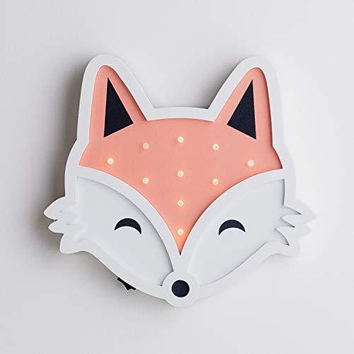 Lights4fun 10er LED Fuchs Kinderzimmer Nacht Licht warmweiß Timer Batteriebetrieb 25cm