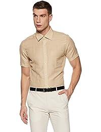 Park Avenue Men's Checkered Regular Fit Linen Formal Shirt