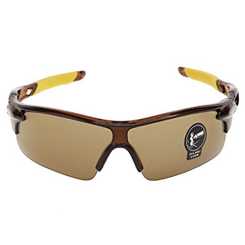 Susens Männer Outdoor Radfahren winddicht UV 400 Sport Sonnenbrille Schutzbrillen (Tee braun)