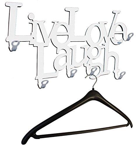 steelprint.de Wandgarderobe/Garderobe *Live Love Laugh * - Garderobenhaken - Flurgarderobe - 6 Haken - Weiß