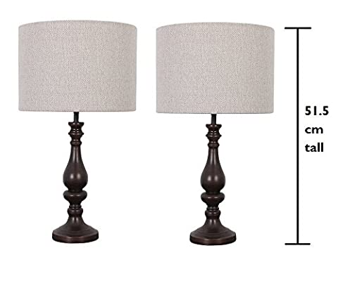 2 x Tall Wood Table Lamps with Herringbone Shades