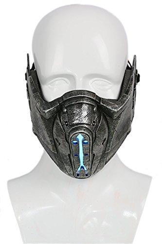 �lfte Gesicht Maske Spiel Fancy Dress Kostüm Prop Erwachsene Resin Helm mit Blauen Licht Halloween Merchandise ()