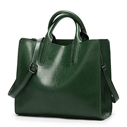 Pamabag Umhängetasche Damen,Klassische Mode Vintage Öl Wachs Leder Tasche Crossbody-Tasche Leichte Big Bag Handtasche Casual Einfache Multi-Funktion Schulter Messenger Bag, Grün -