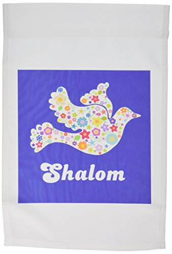 3dRose FL_58350_1 Weiße Blumenfahne, Friedenstaube mit Schleim, Blumen, jüdisch, hebräisch, Judentum, Gartenflagge, 30,5 x 45,7 cm