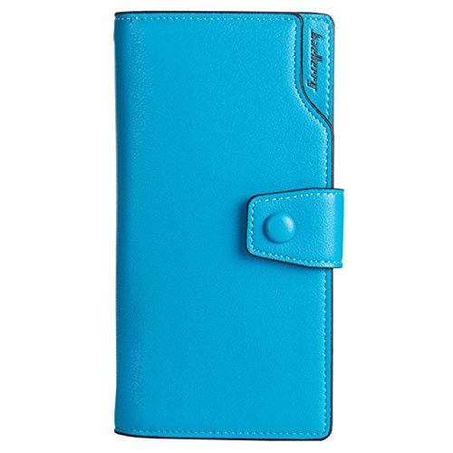 Young & Ming - Women Leather Wallet Donna Portafogli in pell con 10 Card Slots &1 Smartphone Slots & 2 Cash Posizione blu