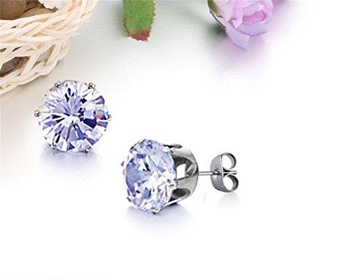 PAURO Femme Bijoux Acier Inoxydable Exquis Ronde Zircon Cubique Brillant Boucles D'Oreilles Blue Diamond (grand)