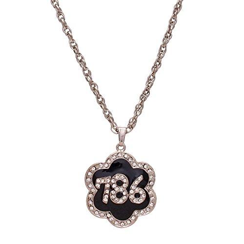 Memoir CZ Black Enamel 786 letters word, Star shaped, muslim jewellery chain...