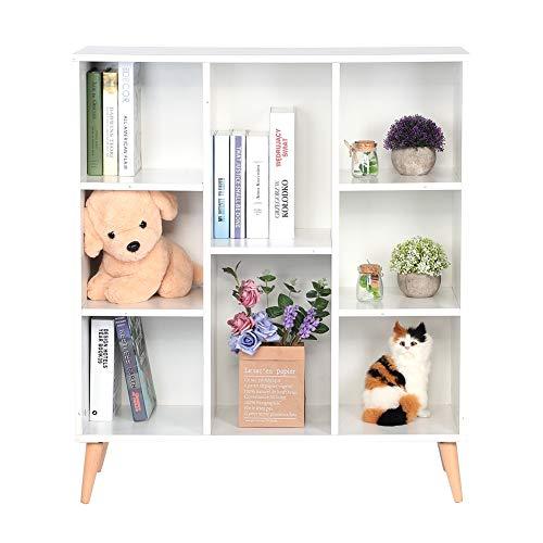 lyrlody Libreria in Piedi,Libreria Moderna con Ripiani,Mobile Decorativo in Legno con 8 Cubi e 4 Gambe,Soggiorno Ufficio Legno,Bianco,80 * 30 * 80cm
