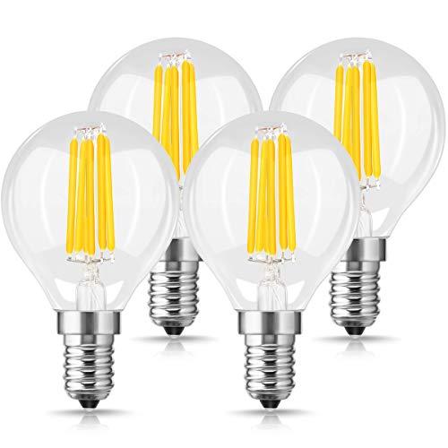 G45 6W LED Filament Birne, JandCase Dimmbare Globe Glühbirne, SES E14 Warmweiß 2700K LED Birne, 45W äquivalent LED Lampe, 550LM, 360 Grad Abstrahlwinkel, für Innenbeleuchtung Leuchtmittel, 4 Stück (Vintage Deckenventilator Globes)