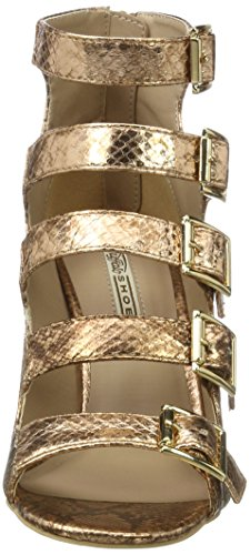 Buffalo London 316-5971-2 Metallic Snake Pu, Sandali con Zeppa Donna Multicolore (Bronze)