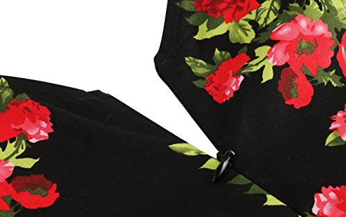 50s Dame Retro Kleider, VERNASSA Abendkleid Elegant Cocktailkleid Vintag 3/4 Arm Knielang Party Rockailly Swing Kleid, Gr.36-46, Mehrfarbig 1539-Schwarz