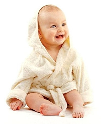 Baby weicher Frottee Bademantel mit Kapuze Gürtel und Knopf beige