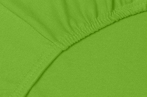 Double Jersey - Spannbettlaken 100% Baumwolle Jersey-Stretch bettlaken, Ultra Weich und Bügelfrei mit bis zu 30cm Stehghöhe, 160x200x30 Lime - 5