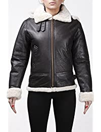 Women's Vintage Real Hooded Sheepskin Flying Brown Leather Jacket With Cream Fur Comfort fit