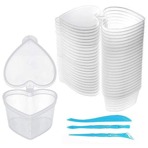 SWZY Slime Containers 24 Pack Récipients de stockage en plastique transparent en forme de coeur avec 3 outils PCS pour boule de mousse d'argile molle
