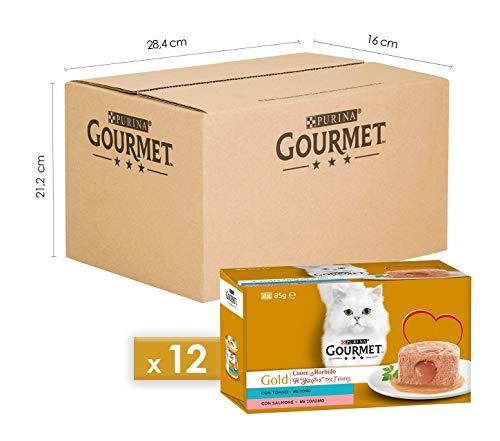 PURINA GOURMET GOLD Umido Gatto Cuore Morbido con Tonno, Salmone - 48 lattine da 85g ciascuna (12 confezioni da 4x85g)