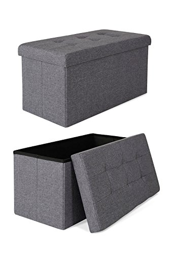 dibea SO00466, Sitzhocker faltbar, Leinen, 80 L, Bank 76 x 38 x 38 cm grau, Max 300 kg