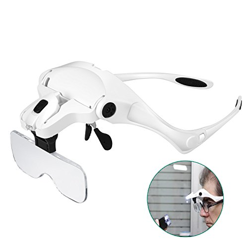 Lunette Loupe avec 2 LED - Rightwell Loupe Eclairante Loupe...