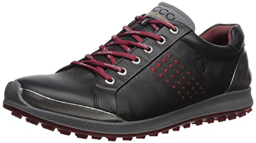 ECCO Men's Biom Hybrid 2 Hydromax Golf Shoe, Black/Brick, 46 Medium EU (12-12.5 US) - Biom Golf Hybrid Ecco