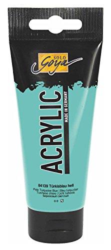 Kreul 84139 - Solo Goya Acrylic, hochpigmentierte Acrylfarbe in Studienqualität, 100 ml Tube, türkisblau hell