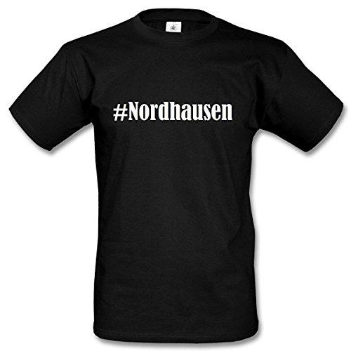 T-Shirt #Nordhausen Hashtag Raute für Damen Herren und Kinder ... in den Farben Schwarz und Weiss Schwarz
