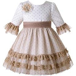 Ju petitpop Lajinirr Vestido de Lunares primaverales con Capa de Encaje, Vestidos niña Ocasiones Especiales