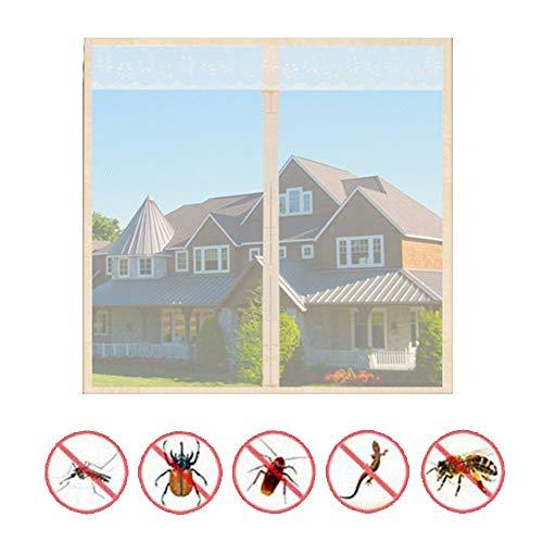 QWESHTU Ineinander Greifen Bildschirm Vorhang, Insektenschutz Fenster Außen Für Fenster Und Türen Fliegennetz Rollenware Größenwahl Farbwahl Insektenschutz-Gitter,Beige,200x180cm(79x71inch)