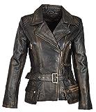 Damen Lederjacke Tailliert Hüfte Länge Taille Gürtel Biker Style Celia Abreiben Schwarz (XX-Large)