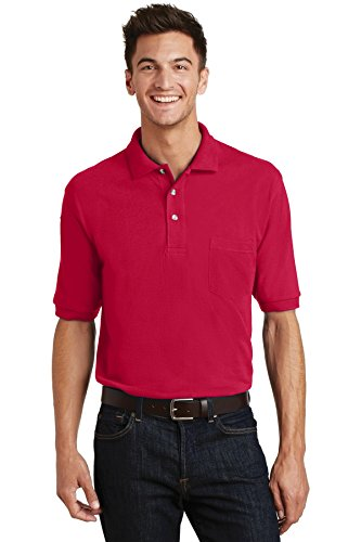 Port Authority Men's Pique Knit Polo with Pocket -
