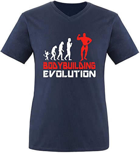 EZYshirt® Bodybuilding Evolution Herren V-Neck T-Shirt Navy/Weiss/Rot