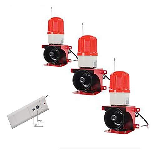 110dB Akustisch visuell Sirene Horn Lautsprecher Alarm System,Blinklicht Hupensirene Sound Alarm System Warnhupe Sicherheitssystem für Intrusion Einbruchschutz & Feueralarm,1remotecontrol3alarms -