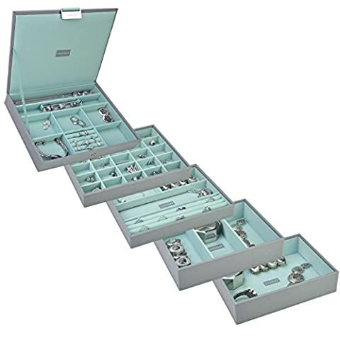 STACKERS Set of 5 'CLASSIC SIZE' - Dove Grey STACKER Set of 5 Jewellery Box with Mint Green Lining