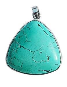 Pendentif cabochon de Turquoise reconstituée sertie