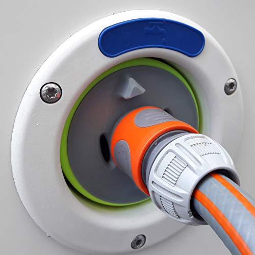 Wassertankdeckel mit Anschluss für Gardena System für Wohnmobil, Caravan, Boot mit Überlauffunktion und doppel Schlauchkupplung (Passend für Tankdeckel 3-Pin D:78mm, Grau mit Rand in Neon Gelb)