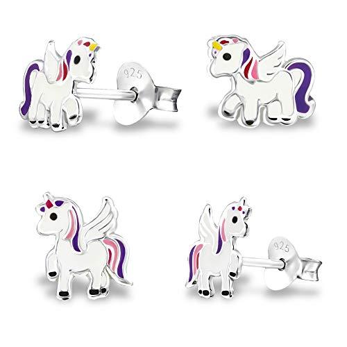 2 pares de pendientes de unicornio de plata de ley 925 para niñas, incluye estuche de joyería Tiwoca Jewellery de alta calidad y gamuza de pulido