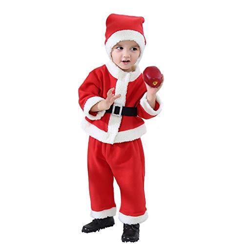 Qiaoy felpa con cappuccio da bambino di natale, bambina, cappello e costume per bambina,redb-referenceheight:130-140cm