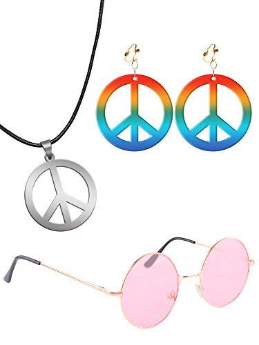 Sunshane Hippie Dress Up Zubehörset Hippie Brille Hippie Style Peace Sign Halskette und Ohrringe (Rosa)