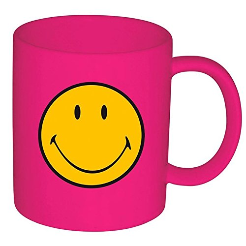 Zak Designs Melamine Smiley Mug, 350ml, Fuschia